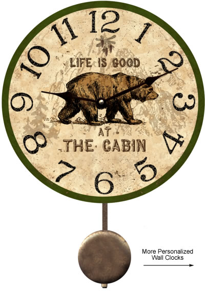 Cabin Clock Rustic Personalized Cabin Clock