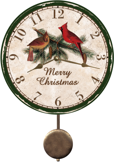 Christmas Wall Clock Cardinal Christmas Wall Clock