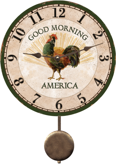 Rooster Wall Clock Good Morning Rooster Wall Clock